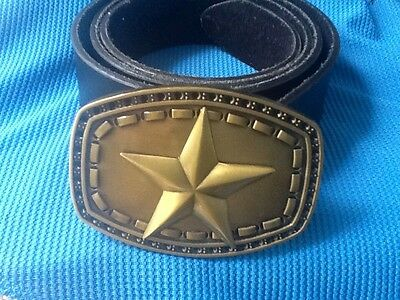 3d Gold Sheriff Star Wildwest Western Cowboy Fancy Dress Buckle Leather Belt