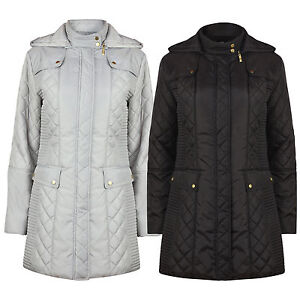 Ladies Womens Quilted Padded Autumn Winter Rain Proof Coat Jacket ...