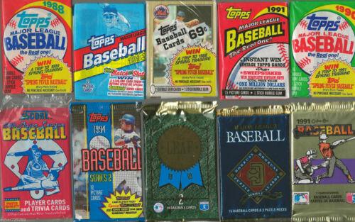 HUGE Lot of 100 Unopened Old Vintage Baseball Cards in Wax Cello Rack Packs