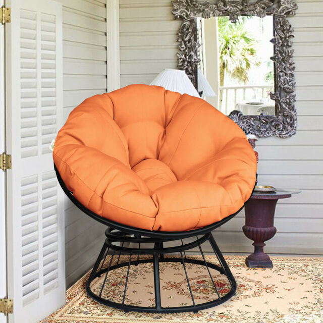 Astounding Round Swivel Papasan Chair Soft Orange Cushion Garden Outdoor Patio Furniture Gmtry Best Dining Table And Chair Ideas Images Gmtryco