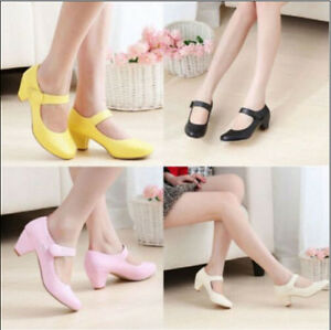 Hot-Sale-Womens-Round-Toe-Low-Heel-Mary-Jane-Ankle-Strap-Cute-Girl-Shoes-Plus-Sz