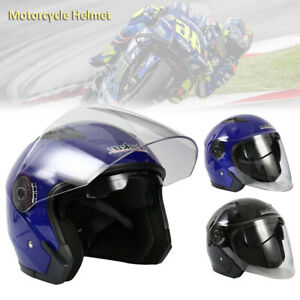 Casque-Demi-Scooter-Moto-Casque-Modulable-Double-Pare-Soleil-Noir-Bleu-Homme-CP