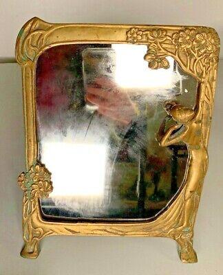 Vintage Art Deco Art Nouveau Brass Finish Mirror With Lady