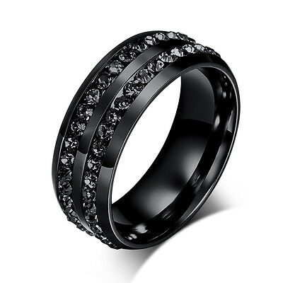 Sz6-13 Black CZ Stainless Steel Ring Men/Womens Titanium Wedding Engagement Band