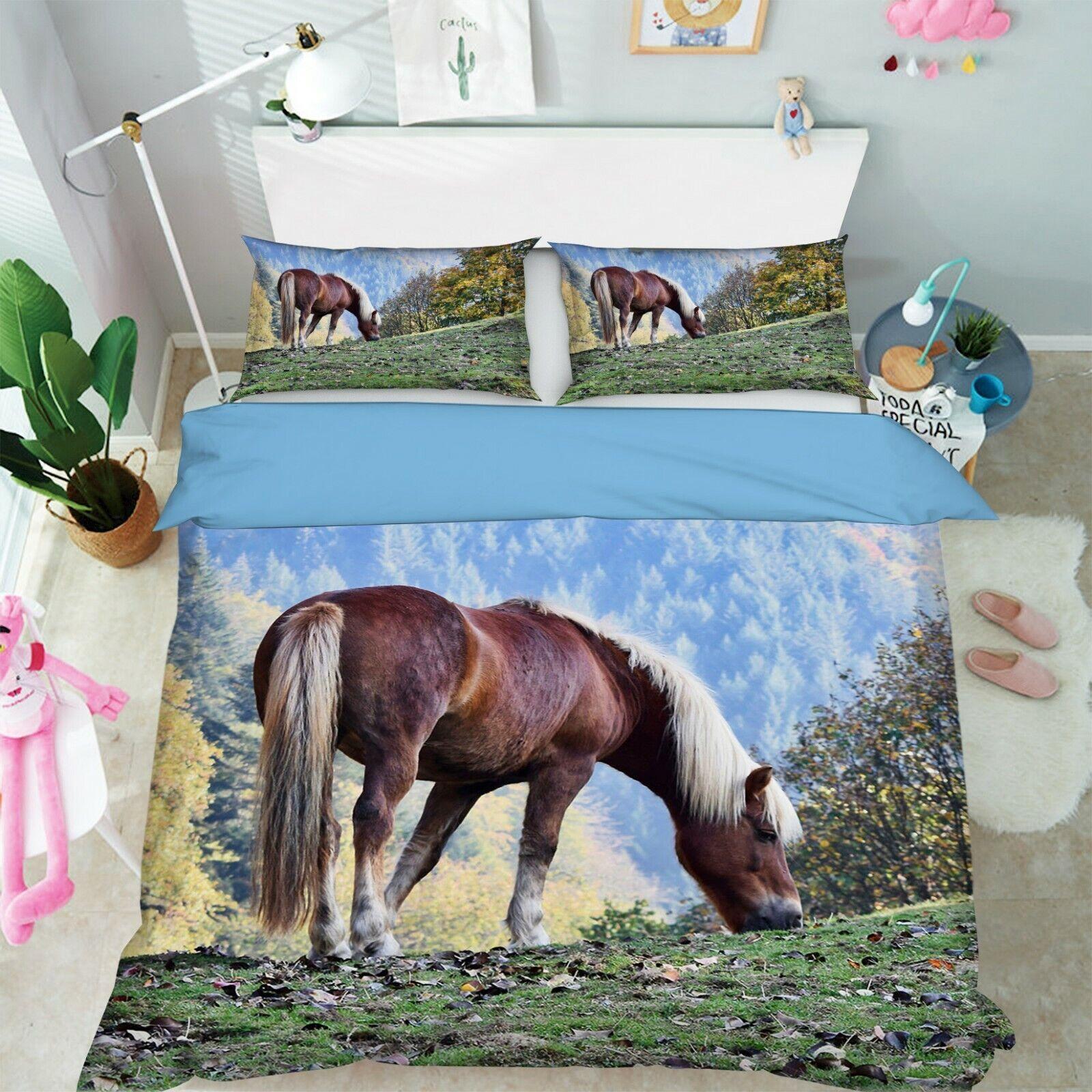 3D Haflinger R144 Animal Bed Pillowcases Quilt Duvet Cover Queen King Zoe