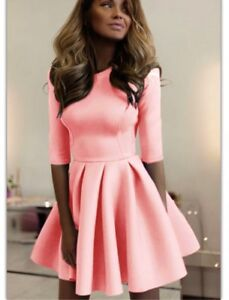 Women's Pleated Flare Party Pop Out Cocktail Ruffled Mid-long Sleeve Short Dress