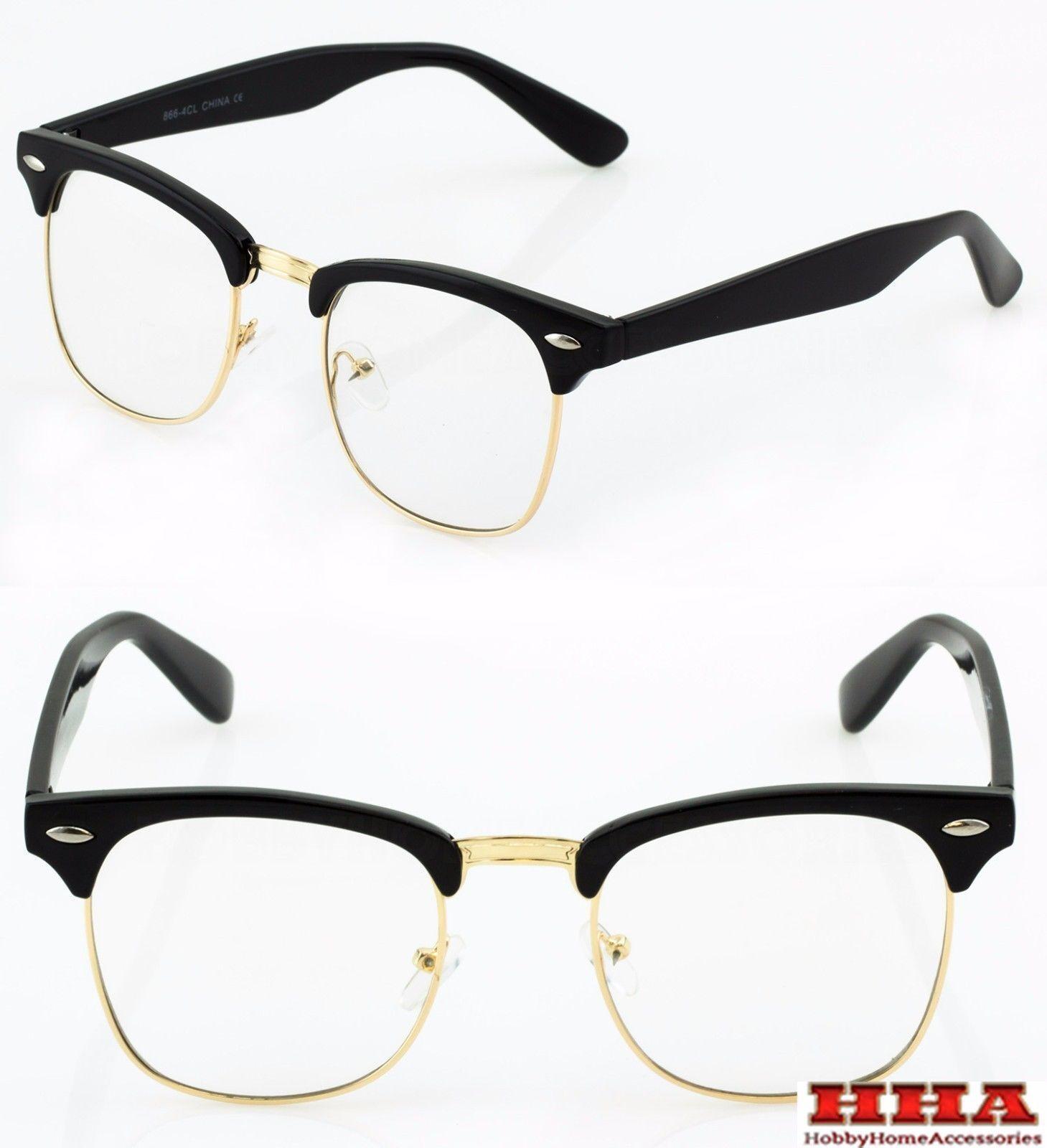 Black and Silver MENS LARGE Clubmaster Wayfarer Style Glasses Clear Lens Half Frame Retro Nerd
