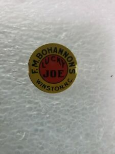 Vintage-F-M-Bohannon-039-s-Lucky-Joe-Winston-NC-Tin-Tobacco-Tag-antique