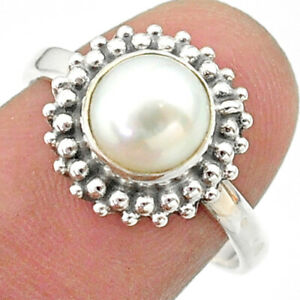 2.59cts Solitaire Natural White Pearl 925 Sterling Silver Ring Size 8.5 T41312