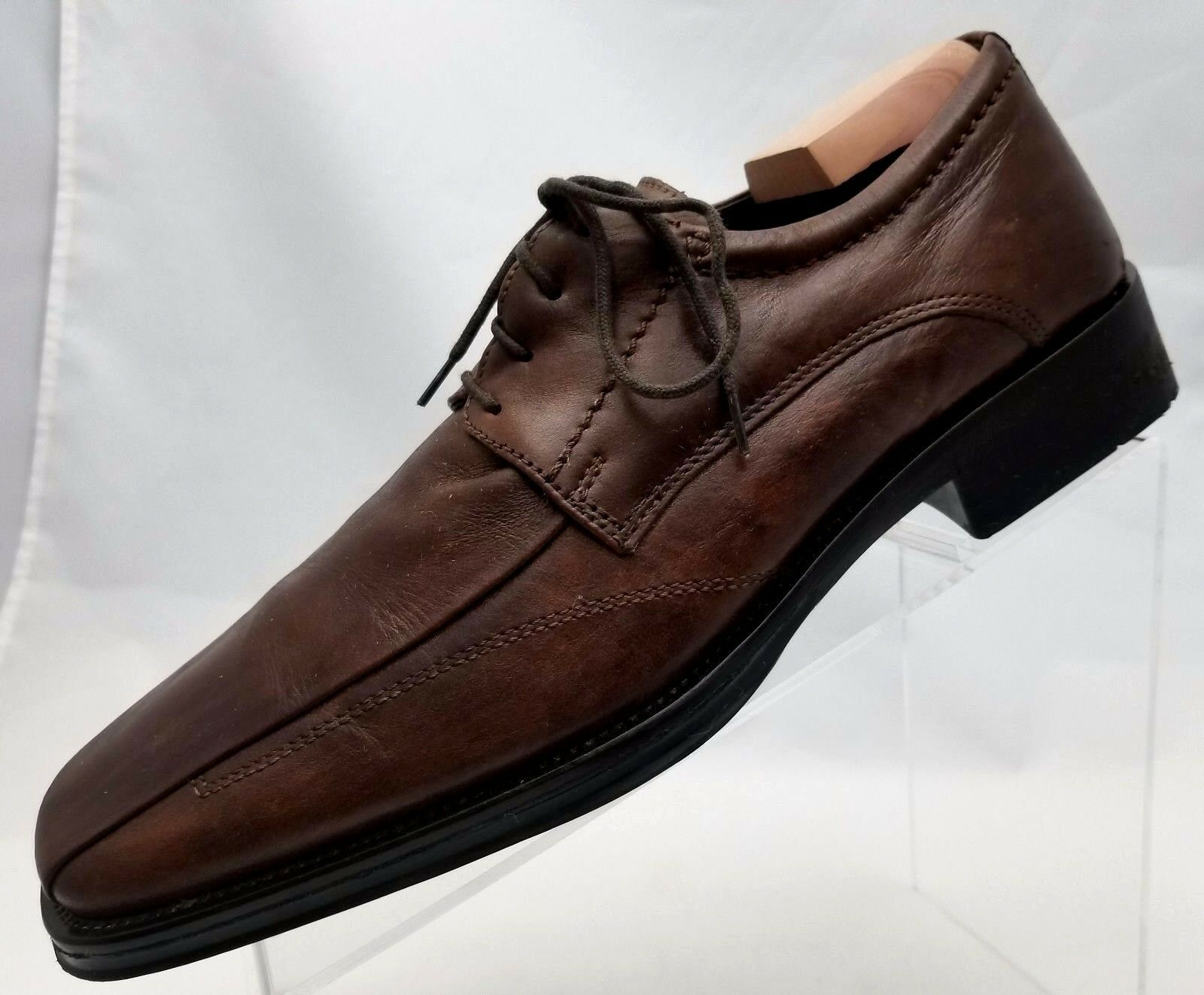 Johnston Murphy Oxford Bike Toe Mens Brown Leather Lace Up shoes Size 9M