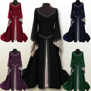 Women-Long-Sleeve-Medieval-Renaissance-Long-Full-Dress-Cosplay-Costume-Plus-Size