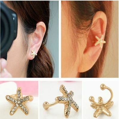 New Fashion Jewelry Gift Ear Cuff Lovely Crystal Starfish Ear Clip Stud Earrings