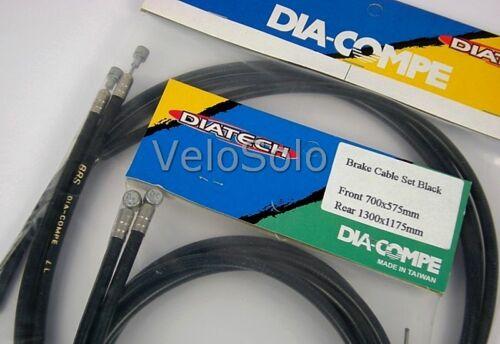 Black White Barrel Pear Nipple Dia Compe Bike BRAKE CABLE Front Rear or Pair
