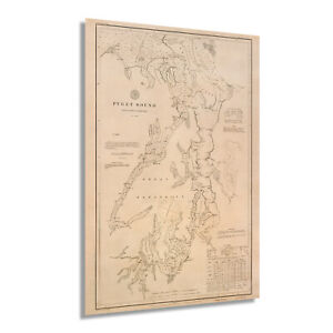 1889 Puget Sound Map Poster - Vintage Washington Territory Wall Art Decor Print