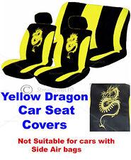 6 Pieza Dragón Amarillo y Negro Logo reposacabezas Cubiertas de Asiento de Coche Cubierta Protector Set