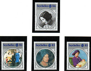 SEYCHELLES-1985-QUEEN-MOTHER-LIFE-amp-TIMES-SET-OF-ALL-4-COMMEMORATIVE-STAMPS-MNH