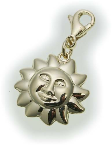 Pendant Charm Sun gold 333 Amulet Yellow gold Unisex