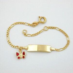 Details Zu Baby Taufe Schmetterling Rot Gravur Armband Gold 585 14 Kt Mit Namen Und Datum