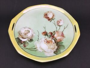 Antique-Reinhold-Schlegelmilch-RS-Germany-Serving-Plate-Hand-Painted-Roses