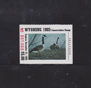 Image Is Loading State Hunting Fishing Revenues WY 1985 Conservation Stamp