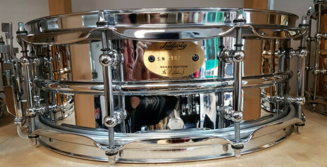 "Ludwig 14x5"" SUPRA PHONIC Chrome over Brass Snare Drum USA lb400bt OTTONE"