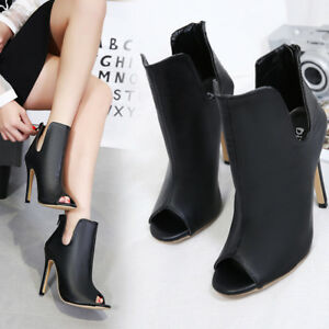 5b201f3b8e38 Women Black Peep Toe Slim High Heel Ankle Boots Solid PU Leather ...