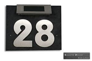 Hausnummer-Hausnummerleuchte-Tuerschild-Edelstahl-LED-Licht-Solar-auf-Schiefer