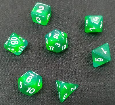 HD Everclear Aurora Black-Green w// White Dice Set  DND RPG