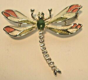 Vintage Rhinestone /& Enamel Dragonfly Brooch