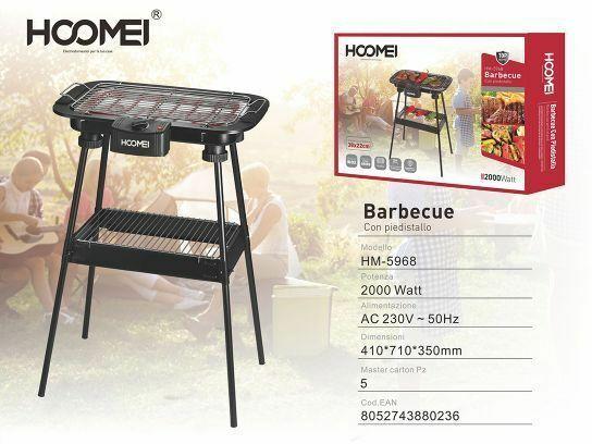 Cc Griglia Barbecue BBQ Grill Con Piedistallo 2000W Hoomei HM-5968