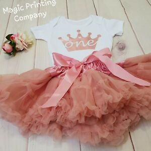 Image Is Loading 1st Birthday Outfit Baby Girls Frilly Tutu Dress