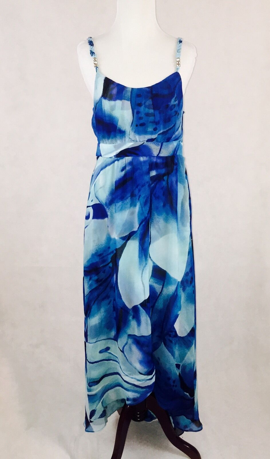 WHBM Ocean bluees Flowing Floral Print Maxi Dress; Size 8;  198; Event Wedding