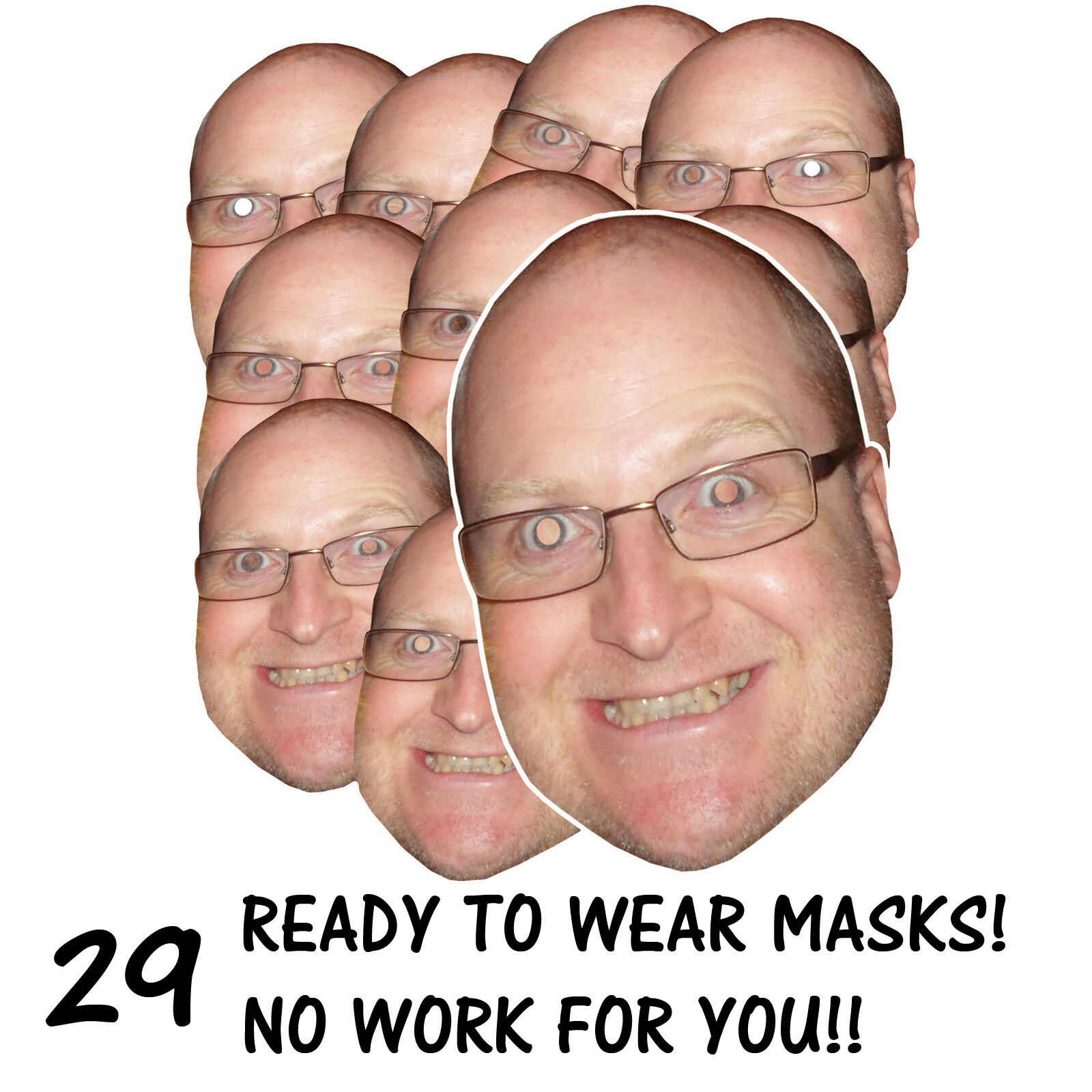 29 x PERSONALISED FUN FACE MASKS - STAG HEN PARTY - SEND US YOUR PIC - FREE P&P