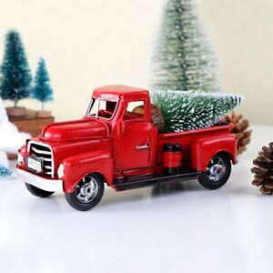 Christmas-Vintage-Red-Metal-Truck-Ornament-Kids-Xmas-Toy-Table-Top-Decor-Gifts