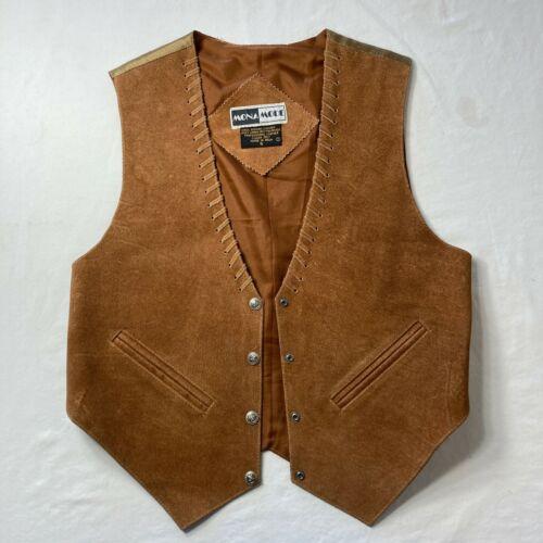 Western leather vest  1980\u2019s  mona mode  brown vintage snap buttons  back tie  pockets  western  boho  hippy  hippie
