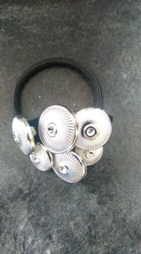 Hand made triangular shaped silver clustered buttons hair tie//bobble