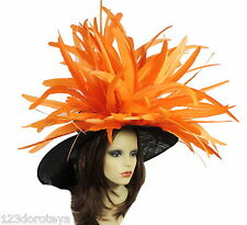 Black Orange Large Ascot Hat for Weddings, Ascot, Derby in many colors