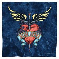 Bandana - Bon Jovi Wings Heart Sword Denim Flag (22x22 Inch)