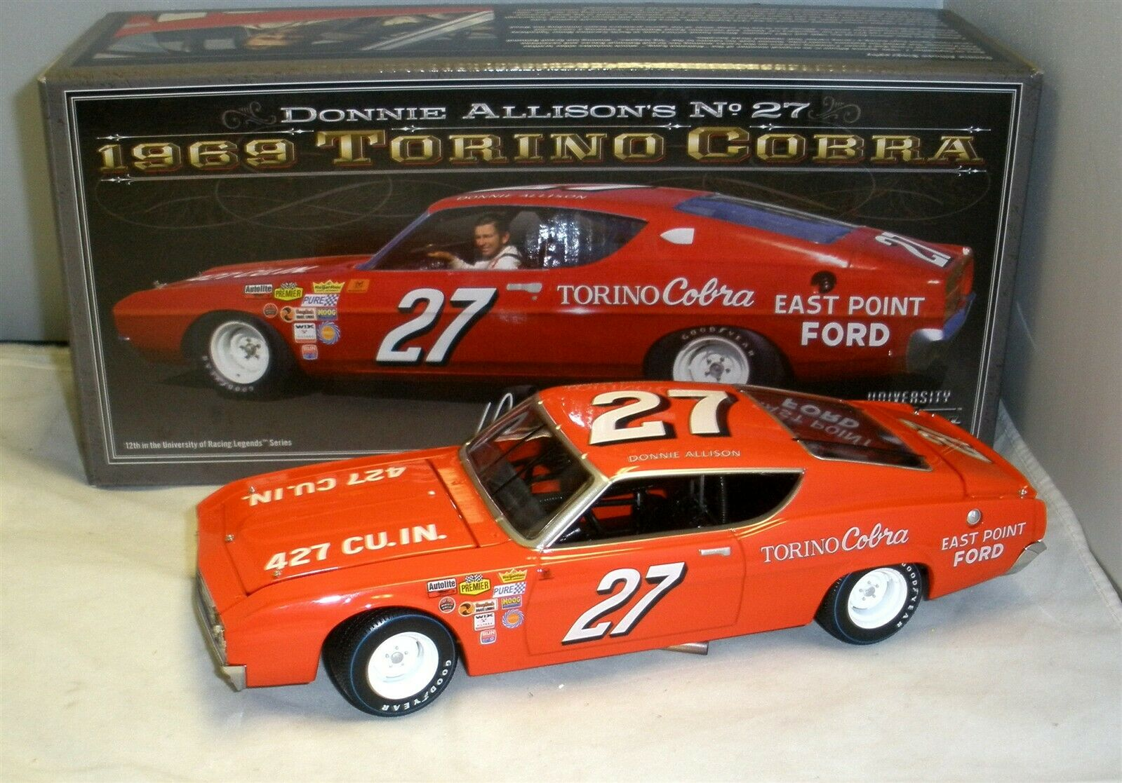 servicio honesto 1 24 University of Racing 1969    27 Ford Torino Cobra Donnie Allison Nuevo En Caja  60% de descuento