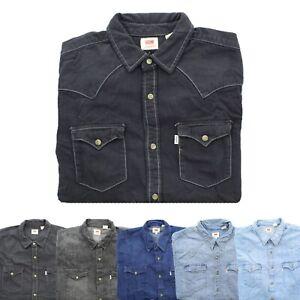 Levi-039-s-Levi-Strauss-Mens-Barstow-Button-Down-Long-Sleeve-Western-Denim-Shirt