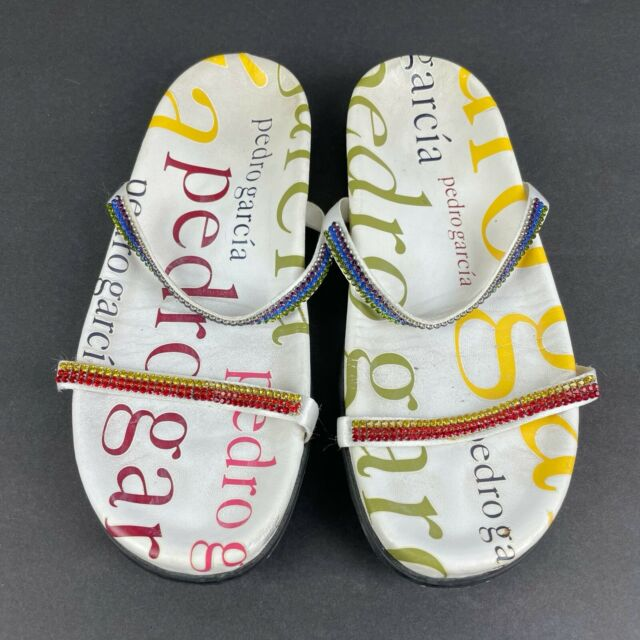 Pedro Garcia Womens Sandals 6 Signature Rhinestone Strap White Slip On Rare