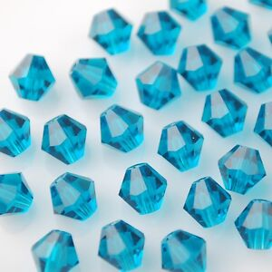50pcs-6mm-Bicone-Faceted-Crystal-Glass-Charms-Loose-Spacer-Beads-Peacock-Blue