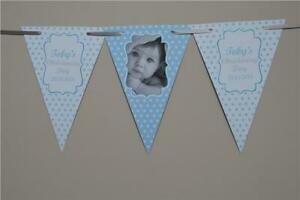 PERSONALISED-CHRISTENING-Boy-Girls-BUNTING-Stars-BANNER-Baptism-Photo-Any-Colour