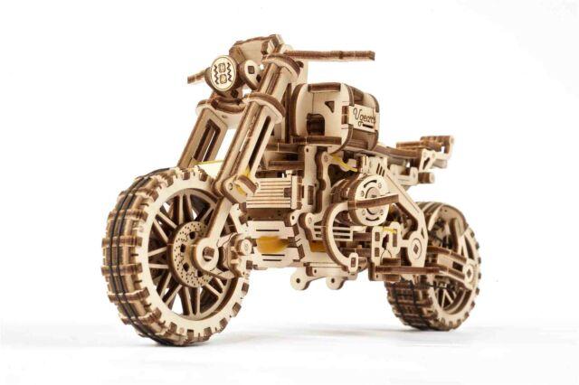 Ugears Motorrad Modellbausatz Scrambler mit Beiwagen 3D Puzzle Holzmodell
