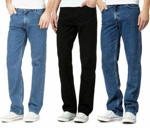 Mens Fancy Straight Leg Regular Denim Jeans Adults Heavy Duty Plain Casual Pants