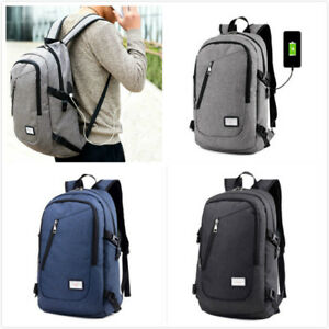 Anti-theft Mens USB /& Charger Port Backpack Laptop Notebook Travel School Bags