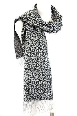 B53 Cashmere Leopard Animal Print Gray /& Black Fringe Long Scarf Boutique $110