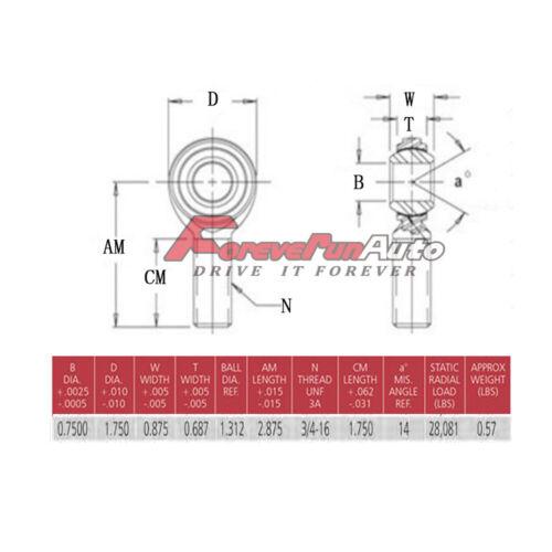 Kit Barra Panhard Chromoly Heim articulações 3//4 X 3//4-16 com 3//4-5//8 Hms Batoque .120