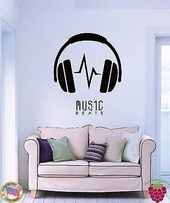 Wall Stickers Vinyl Decal Headphones Music Beats z1184