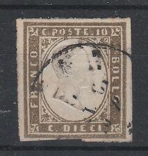FRANCOBOLLI 1861 SARDEGNA C. 10 GRIGIO OLIVASTRO SCURO C/3000